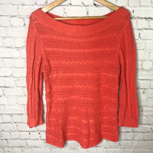 Chaps Sweaters - Coral Cable Knit Sweater